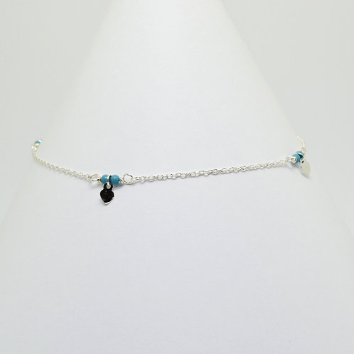Tiny Turquoise Hearts Anklet