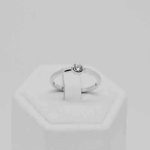 CZ Solitaire Smooth Band Ring