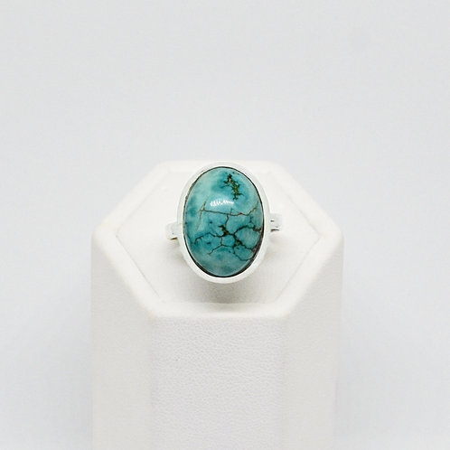 Sterling Silver Turquoise Oval Statement Ring