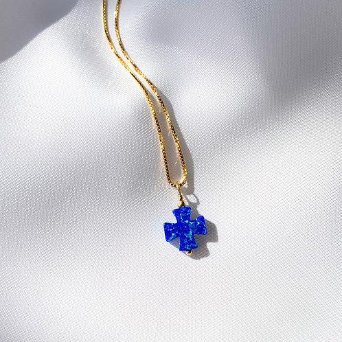 Mikonos  Opalite Cross Pendant Necklace