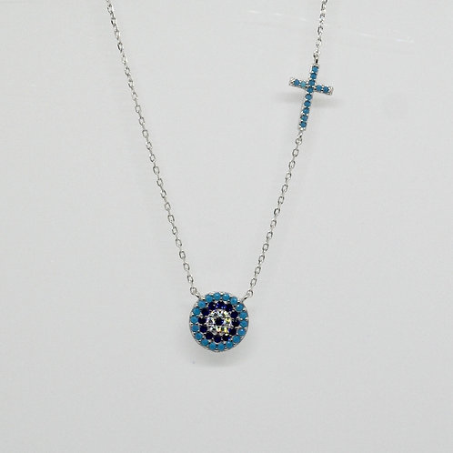 CZ Turquoise Cross and Mati Necklace