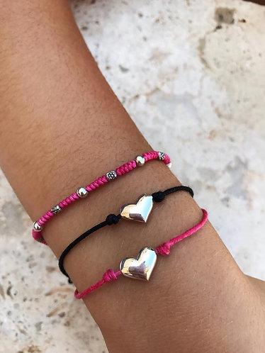 Silver Heart String Bracelet