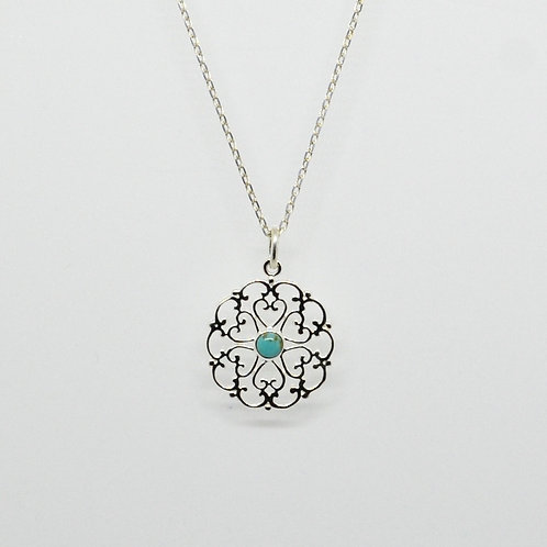 Sterling Silver and Turquoise Filigree Disc Necklace
