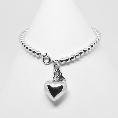 Puffy Heart on 4mm Clasp Bracelet