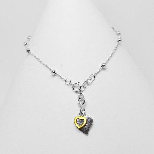 Rosary 2Tone Heart Charm 3mm Bracelet