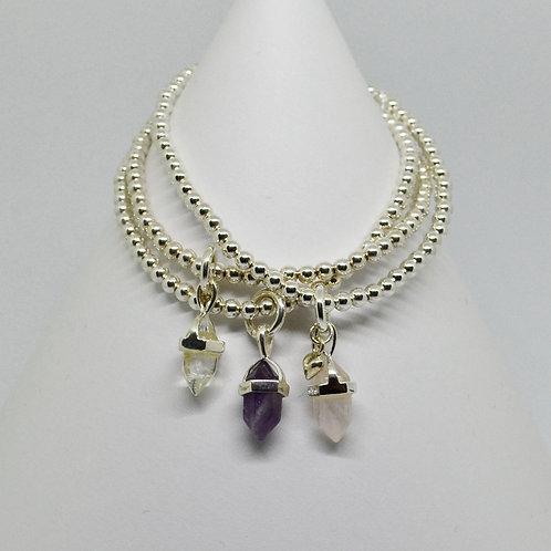 Gemstone Point Pendant Bracelet in Silver