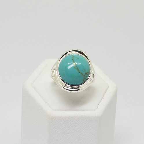 Sterling Silver Turquoise Large Dome Solitaire Ring
