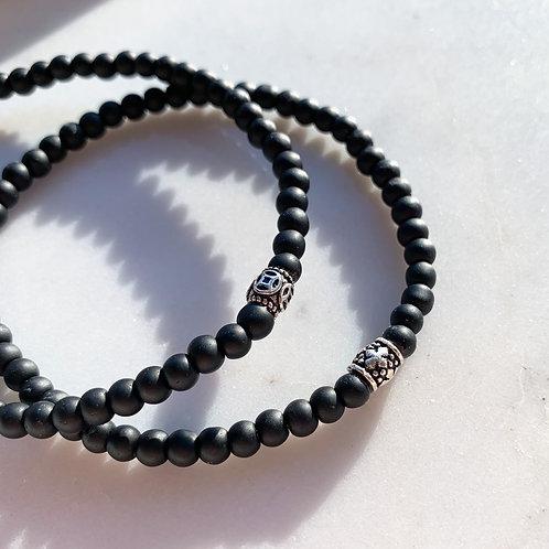 Bacchus Bead Silver Blackstone Bracelet