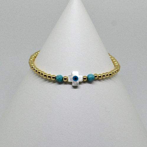 MOP Square Cross Link  Bracelet in Gold