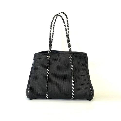 Hedzup Black Neoprene Tote Bag with Black & White Straps