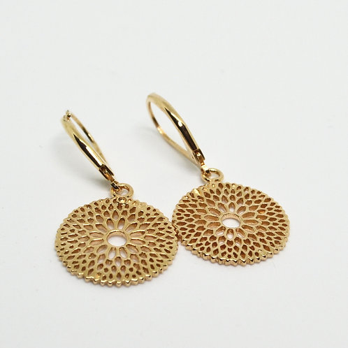 Gold Floral Filigree Disc Earring