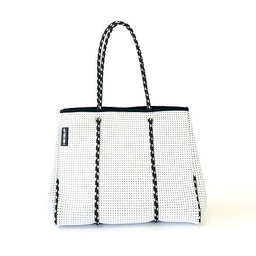 Hedzup Classic White Neoprene Tote Bag with Black & White Straps