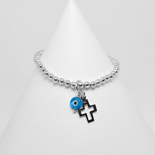Open Cross & Mati Charm 4mm Bracelet