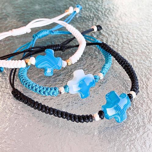 Aegean Blue Cross Cord Bracelet