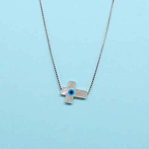 Mother of Pearl Mati Side Cross Necklace