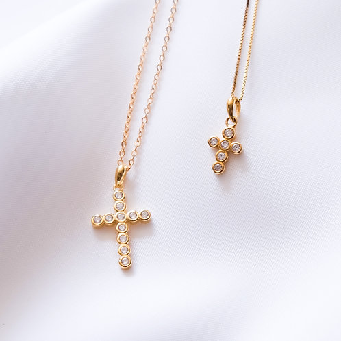 Round Pave CZ Cross Necklace