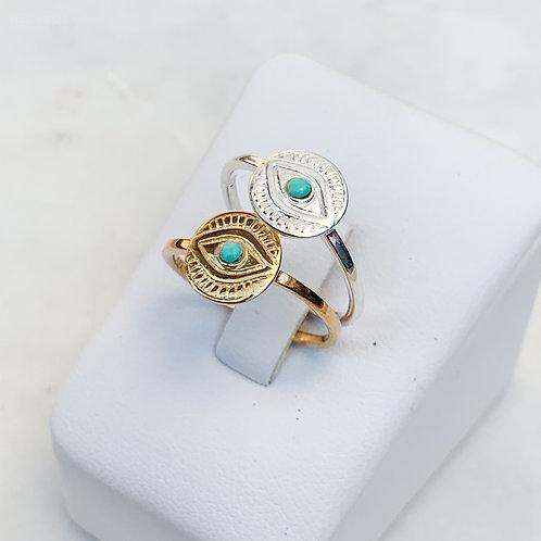 Turquoise Mati Disc Ring