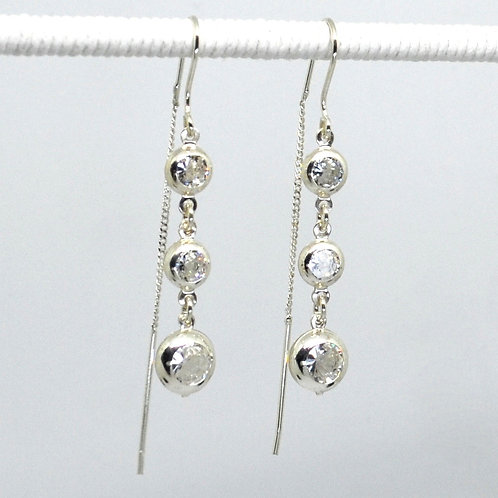 Triple CZ Thread Earrings