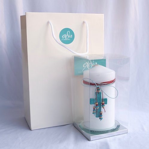 Turquoise Cross Table Candle