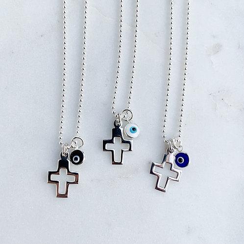 Cut out Cross & Mini Mati Necklace
