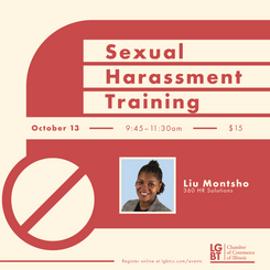 Flyer for virtual sexual harassment training session
