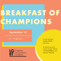 Flyer for the LGBTCC's annual Breakfast of Champions commerating notable LGBTQ+ executives