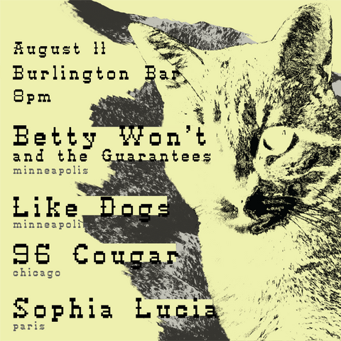 Flyer for Betty Won't and the Guarantees & Friends