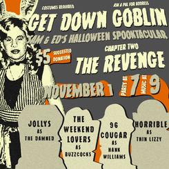 Flyer for Get Down Goblin, Sam & Ed's Halloween Spooktacular