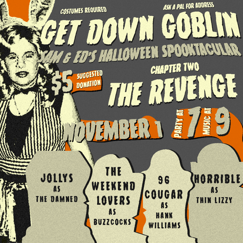 Flyer for Get Down Goblin, Sam & Ed's Halloween Spooktacular