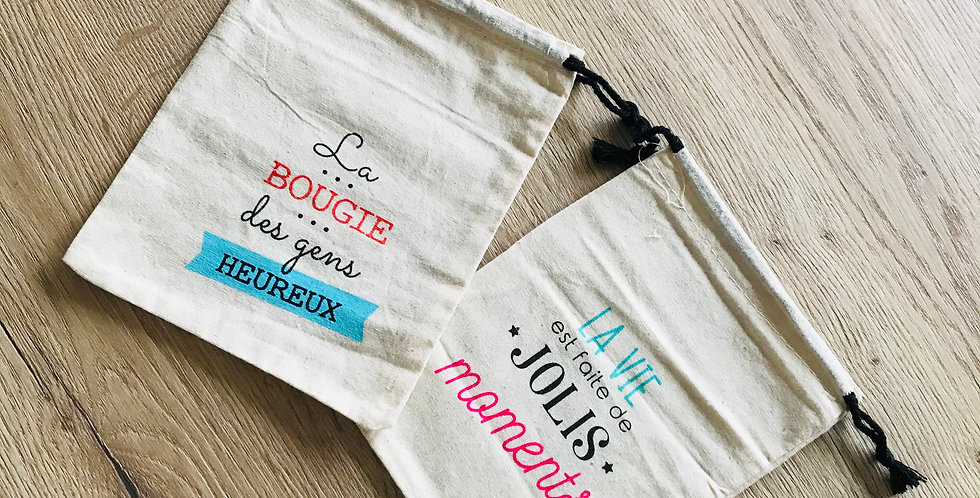Pochette en coton bio pour emballer une bougie