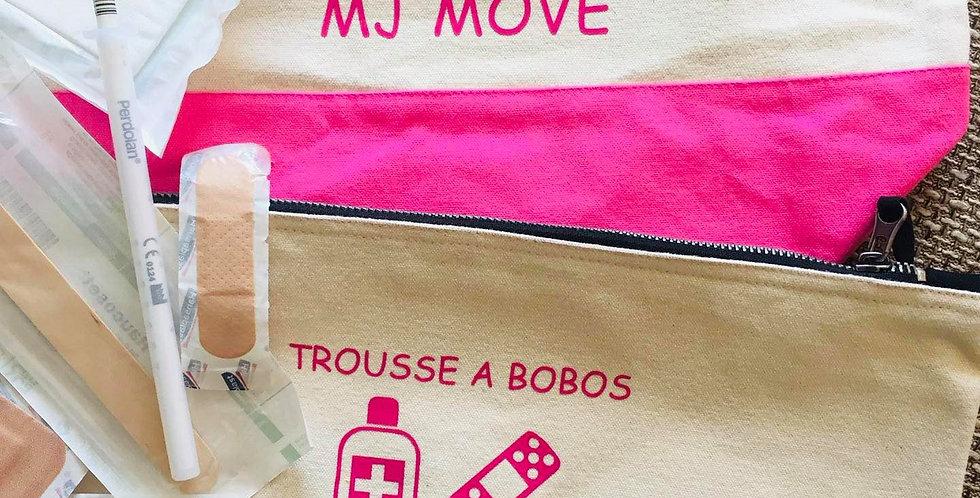 Trousse en  coton bio écru avec bord de couleur