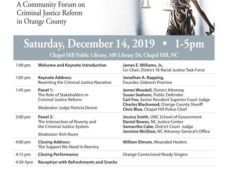 Community Forum on Criminal Justice scheduled for Dec. 14