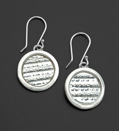 Double Crimped Framed Circle Earrings