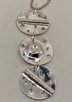 3 Part Circle Pierced & Folded Circle Pendent