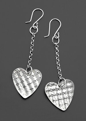 Crimped Heart Earrings