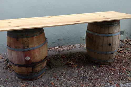 8' Rectangular Tabletop rustic pine on wine barrels