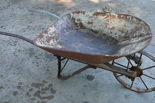 Old Steel Wheeled Wheelbarrow