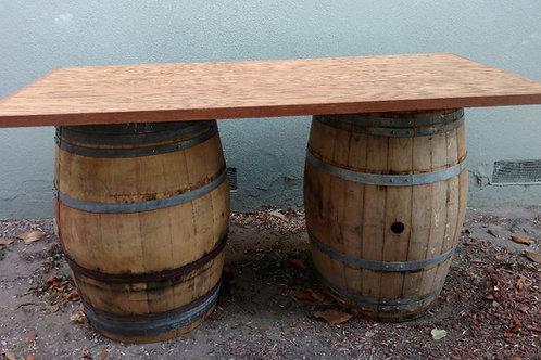 6' Rectangular Tabletop oak veneer on wine barrels