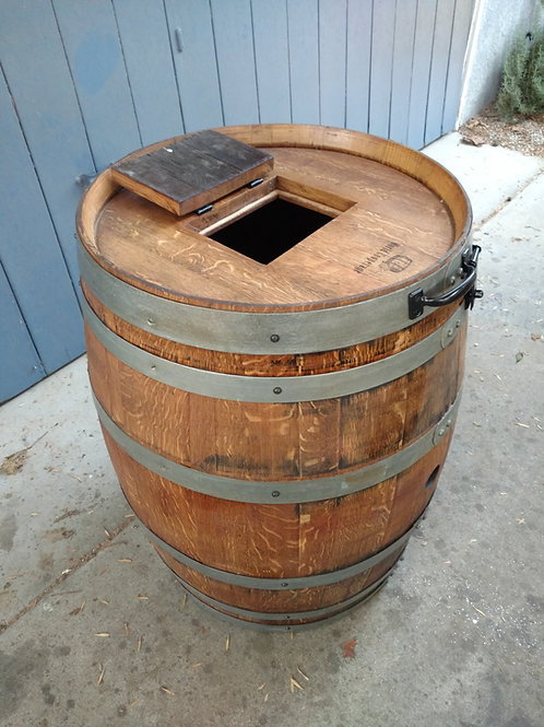 Wine Barrel Trash Can with hinged lid and small trash opening
