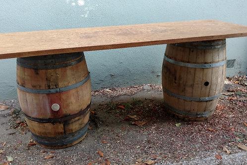 8' Rectangular Tabletop oak veneer on wine barrels