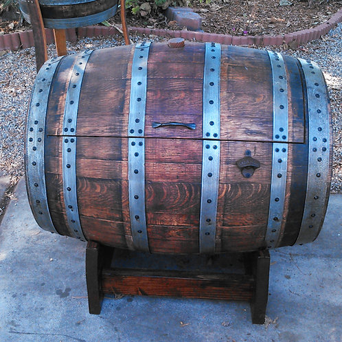 Wine Barrel Ice Chest with stand and rope handles