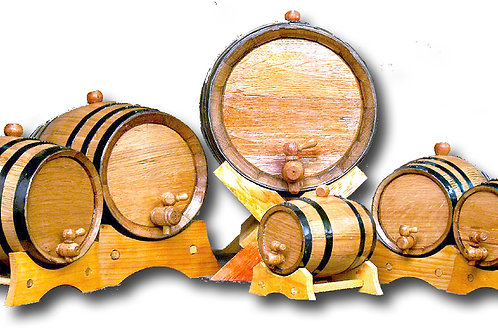 Small Whiskey Barrels with stands from 1 Liter to 20 Liters