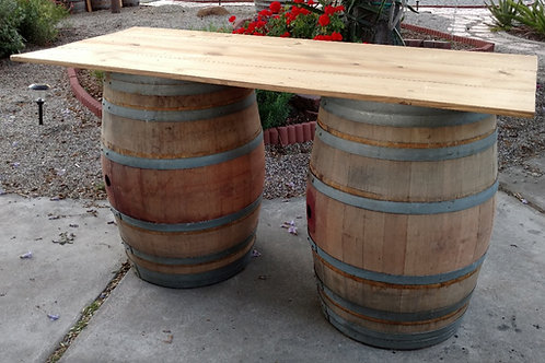 6' Rectangular Tabletop rustic pine on wine barrels