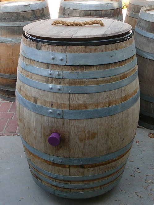 Wine Barrel Trash Can with detached lid and rope handle