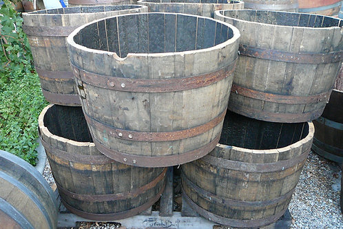 Stack of Half Whiskey Barrels for tables or planters