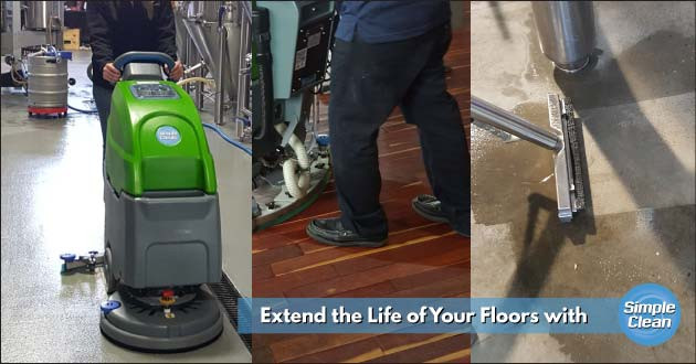 Cleaning Floors with Machine