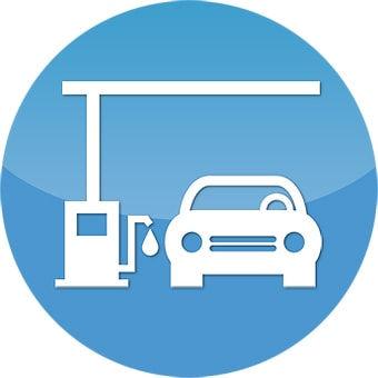 Car at gas pump icon