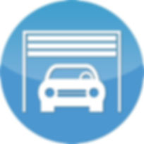 Car in garage icon