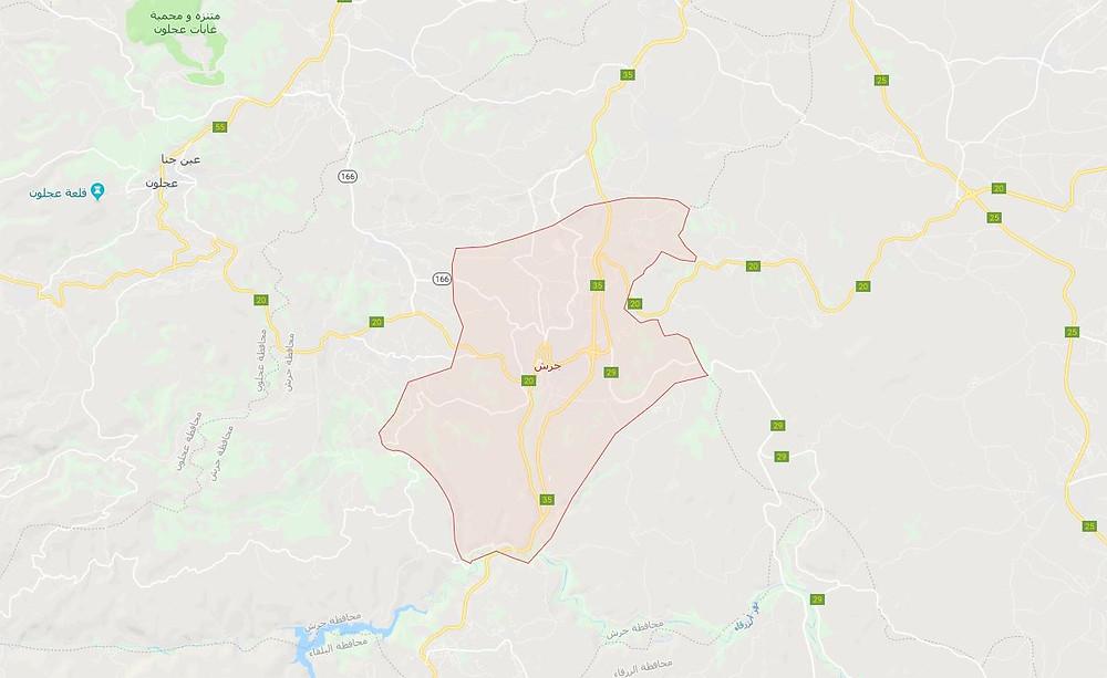 خريطة وموقع جرش