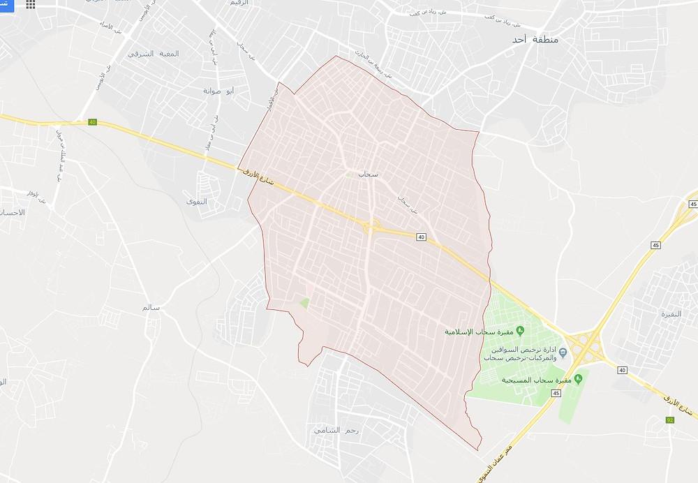 خريطة وموقع مدينة سحاب